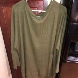 Olive long sleeve knit dress/tunic.